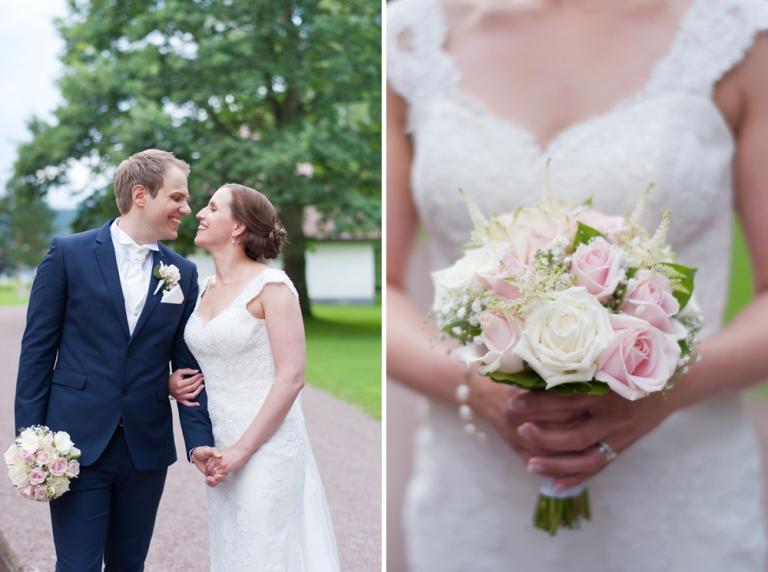 Brudbuketten passar perfekt, bröllop i Leksand